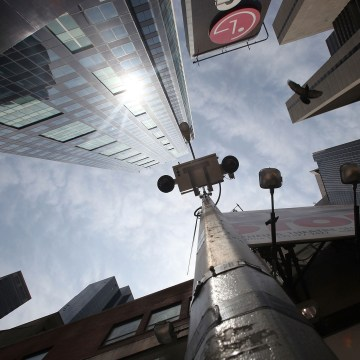 Image: A New York Police Department security camera is seen in Times Square