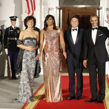 IMAGE: Agnese Landini, Michelle Obama, Matteo Renzi and Barack Obama