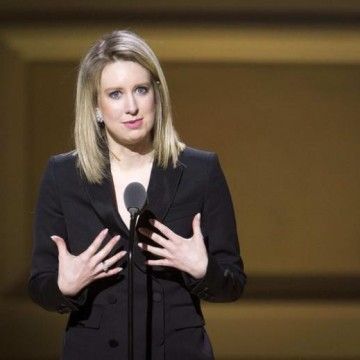 Theranos CEO Elizabeth Holmes speaks on stage at the Glamour Women of the Year Awards where she receives an award, in the Manhattan borough of New York