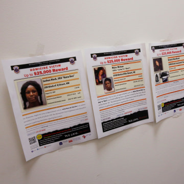 Image: Hawkins, a transgender woman who leads the department's lesbian, gay, bisexual and transgender (LGBT) unit, displays information about unsolved murders of LGBT victims at her office in Washington