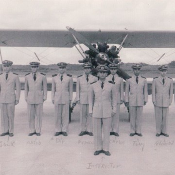 Image: Antonio Bascaro, fourth from right, with other pilots in the Cuban navy in 1954