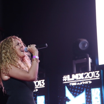 Singer-songwriter Karen Rodriguez performs at the LMX DJ Choice Awards at Stage 48 on July 11, 2013 in New York City.
