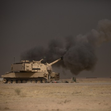 IMAGE: Tank at Q-West base near Mosul, Iraq
