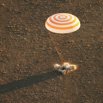 Image: The Soyuz TMA-20M spacecraft lands near the town of Zhezkazgan