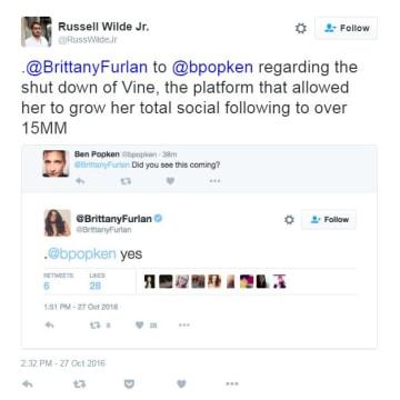 Brittany Furlan Vine tweet