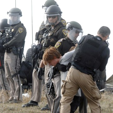 Image: A Dakota Access Pipeline protester is arrested