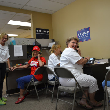 At the RNC Winter Park office near Orlando, manager Melissa McGee, and volunteers work the phones to make sure voters cast their ballots early.
