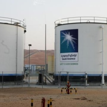 Oil tanks are seen at Saudi Arabia Shaybah oilfield complex