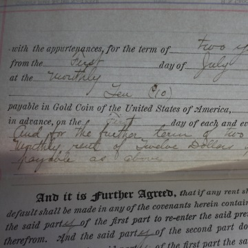 An original 1918 lease for Ching Lee Laundry shows that the Yee family paid $10 per month to rent their shop in San Mateo, Calif.