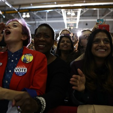 Image: Hillary Clinton Campaigns At Voter Registration Event In Detroit