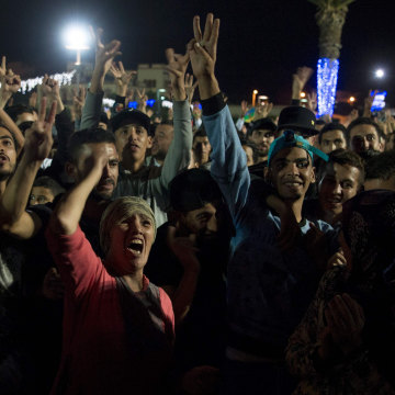 Image: Protesters shout slogans in the northern Moroccan city of Al-Hoceima