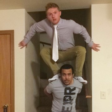 Image: Tommy Hutson with his roommate Hussain Saeed Alnahdi