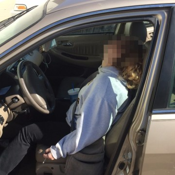 Image: Police released an image of Erika Hurt unconscious at the wheel of a car
