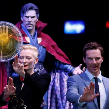 "Image: British actors Tilda Swinton and Benedict Cumberbatch pose during a promotion of film ""Doctor Strange"" in Hong Kong"