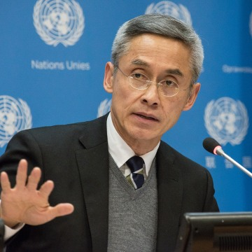 CoI member, Vitit Muntarbhorn speaks with the UN press corps