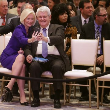 Image: Newt Gignrich and wife Callista on Oct. 26