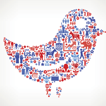 Image: Twitter icon with an election themed design