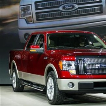 The 2009 Ford F-150 pickup truck sits on stage at the 2008 North American International Auto Show in Detroit