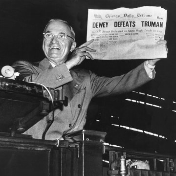 Image: Victorious Pres. Harry Truman jubilantly displaying he erroneous 1948 Chicago Daily Tribune headline.