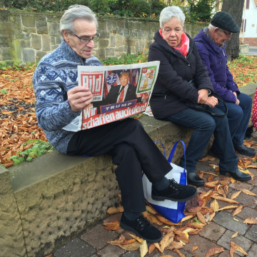 Image: Residents of Donald Trump's ancestral hometown in Kallstadt, Germany,