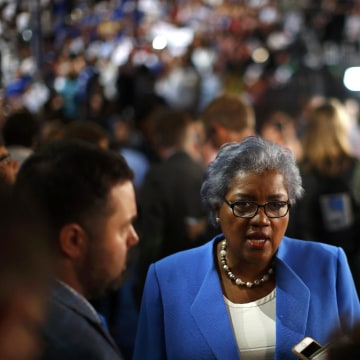 Image: Image: Donna Brazile, the acting Chair of the Democratic National Committee, talks to the media on the floor at the Republican National Convention in Cleveland