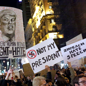 Image: A crowd marches from Union Square to Trump Tower