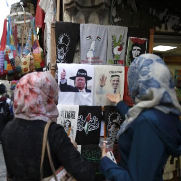 Image: Trump and Obama T-shirts in Jerusalem