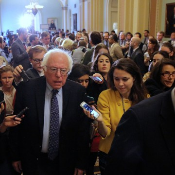 Image: U.S. Senator Bernie Sanders leaves after attending the Senate Democrat party leadership elections at the U.S. Capitol in Washington