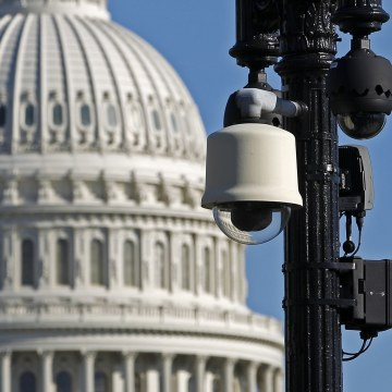 Image: Surveillance cameras are visible near the U.S.Capitol