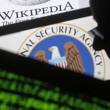 Image: A man is seen near cyber code and the U.S. National Security Agency logo in this photo illustration taken in Sarajevo