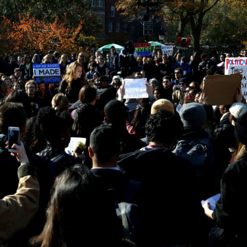 Image: Students of NYU protest against President-elect Donald Trump in Manhattan, New York