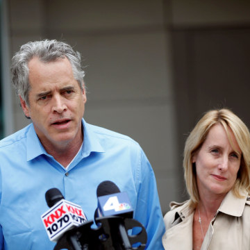 Image: James Otis, the man who admits vandalizing Donald Trump's star on the Hollywood Walk of Fame, speaks to the media with his attorney Mieke ter Poorten about his arrest outside of the LAPD Metropolitan Detention Center in Los Angeles, California