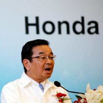 File photo of Honda Motor Co. CEO Takahiro Hachigo speaking during the opening ceremony of the new Honda plant in Prachinburi