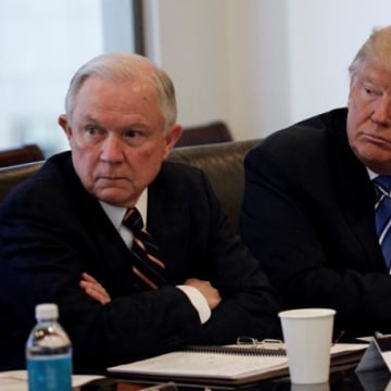 Donald Trump sits with U.S. Senator Jeff Sessions (R-AL) at Trump Tower in Manhattan
