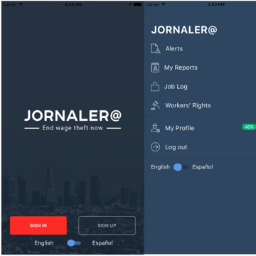 Jornalera app available in the Apple app store.