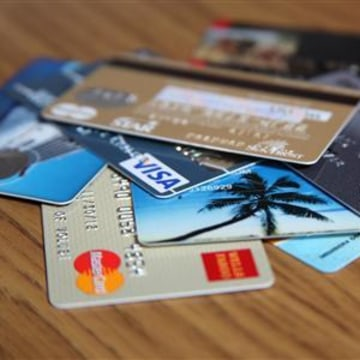 A stack of credit cards are shown in this undated photo