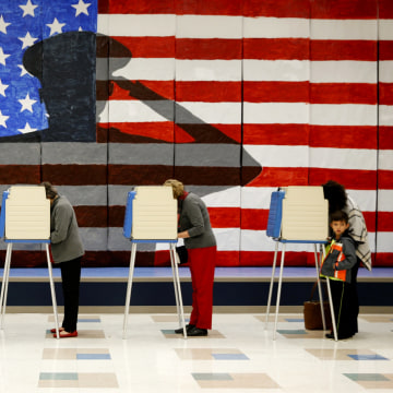 Image: Voters line up in voting booths to cast their ballots