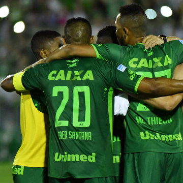 Image: Players with Brazil's Chapecoense soccer club