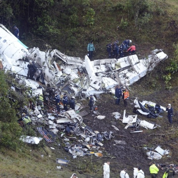 Image: Plane wreckage in Medellin, Colombia