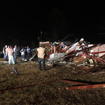 Image: A house damaged in the Underwood Mountain area from severe storms in Colbert County