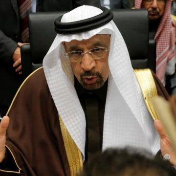 Saudi Arabia's Energy Minister al-Falih to journalists during an OPEC meeting in Vienna