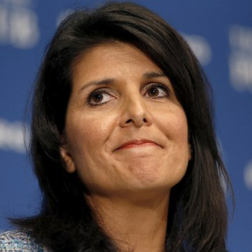 Image: File photo of South Carolina Governor Nikki Haley speaking at the National Press Club in Washington