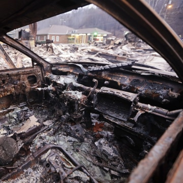 IMAGE: Destroyed car in Gatlinburg, Tennessee