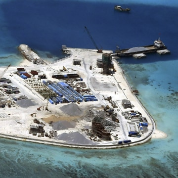 Image: Johnson South Reef in the disputed Spratly Islands.