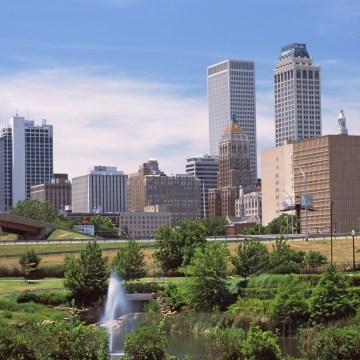 Downtown skyline from Centennial Park, Tulsa, Oklahoma, USA 2012