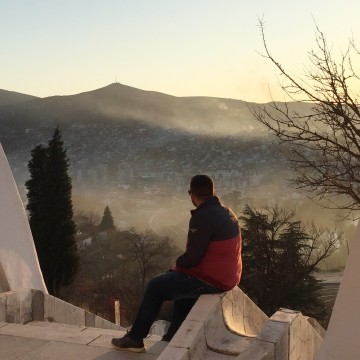 Image: Dimitri looks out over the Macedonian town of Veles