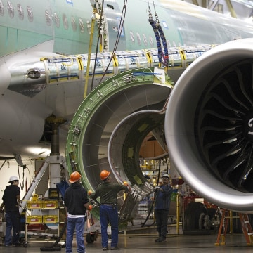 Image: A Boeing 777 passenger plane is built