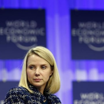 Mayer, Chief Executive Officer of Yahoo attends a session at the World Economic Forum (WEF) in Davos