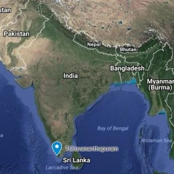 Image: A map showing the Indian city of Thiruvananthapuram