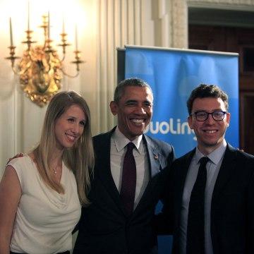 Gina Gotthilf, Duolingo's VP of Growth, President Barack Obama, and Luis Von Ahn, creator of Duolingo.